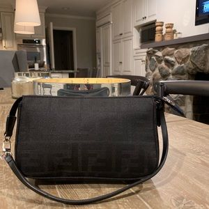 Authentic Fendi Black Zucca Baguette